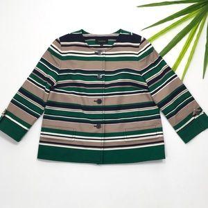 Talbots | Green Navy Tan Striped 4 Button Blazer